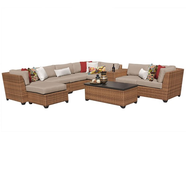 Home Roots Laguna Wheat Caramel Wicker 10pc Outdoor Sectional (10B) OCN-257714