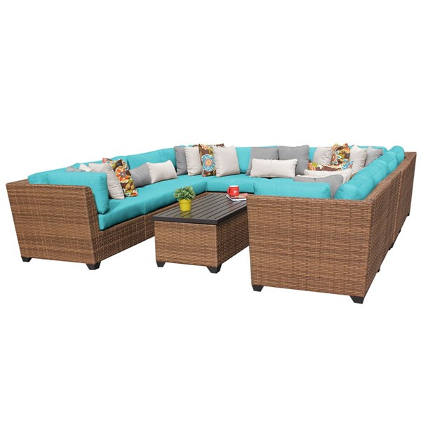 Home Roots Laguna Aruba Caramel Wicker 11pc Outdoor Sectional (11A) OCN-257715