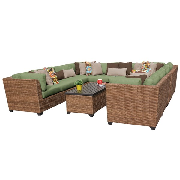 Home Roots Laguna Cilantro Caramel Wicker 11pc Outdoor Sectional (11A) OCN-257717