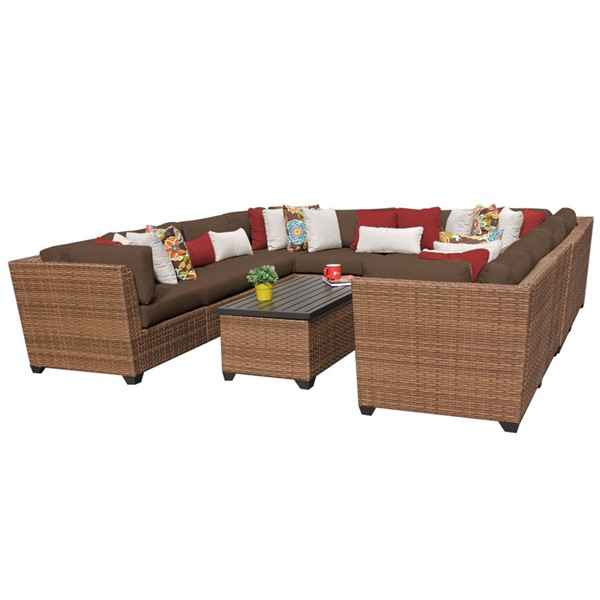 Home Roots Laguna Cocoa Caramel Wicker 11pc Outdoor Sectional (11A) OCN-257718