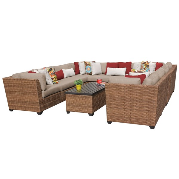 Home Roots Laguna Wheat Caramel Wicker 11pc Outdoor Sectional (11A) OCN-257721