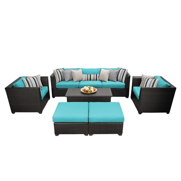 HomeRoots Espresso Wicker 8pc Outdoor Seating Sets (08C) OCN-25791-OUT-SS-VAR