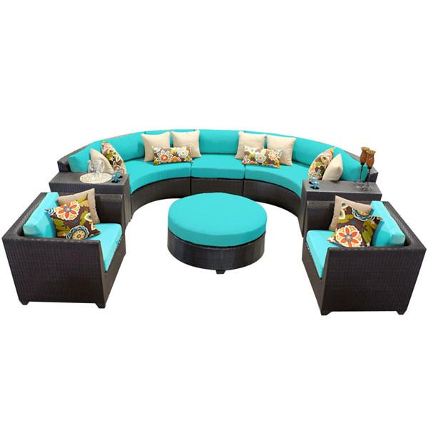 HomeRoots Espresso Wicker 8pc Outdoor Seating Sets (08E) OCN-25792-OUT-SS-VAR