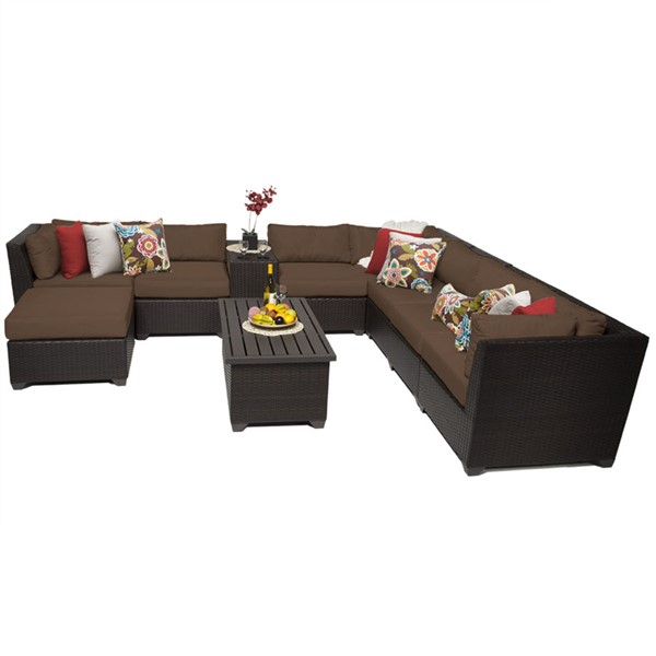 Home Roots Cocoa Espresso Wicker 10pc Outdoor Sectional (10B) OCN-257960
