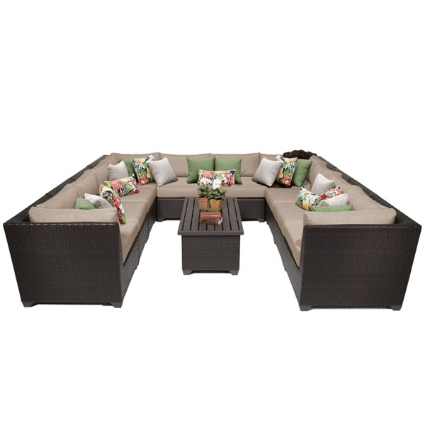 HomeRoots Wheat Espresso Wicker 11pc Outdoor Sectional (11A) OCN-257970