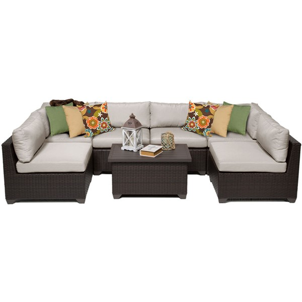 Home Roots Belle Beige Outdoor Wicker Patio 7pc Furniture Set (07A) OCN-258056