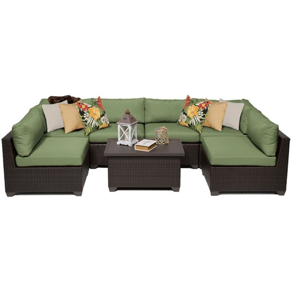 Home Roots Belle Cilantro Outdoor Wicker Patio 7pc Furniture Set (07A) OCN-258057