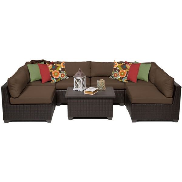 HomeRoots Belle Cocoa Outdoor Wicker Patio 7pc Furniture Set (07A) OCN-258058