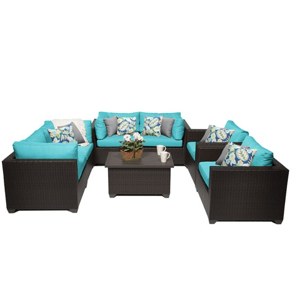 HomeRoots Belle Outdoor Wicker Polyethylene Patio 7pc Furniture Set (07C) OCN-258069-OT-SS-VAR