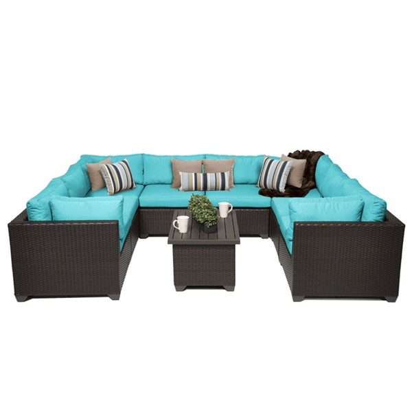 HomeRoots Belle Espresso Wicker 9pc Outdoor Sectionals (09A) OCN-25809-OUT-SEC-VAR