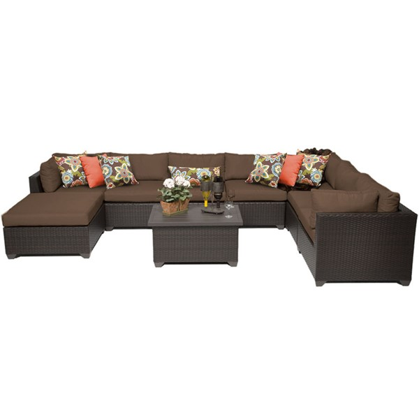 Home Roots Belle Cocoa Outdoor Wicker Patio 9pc Furniture Set (09B) OCN-258100