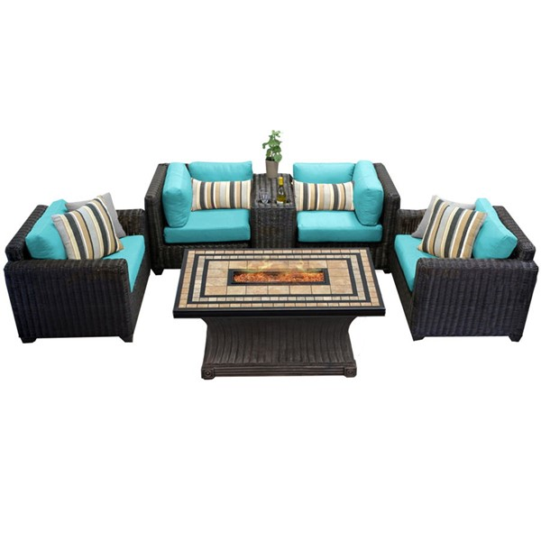 HomeRoots Venice Chestnut Brown Wicker 6pc Outdoor Seating Sets (06C) OCN-25827-OUT-SS-VAR