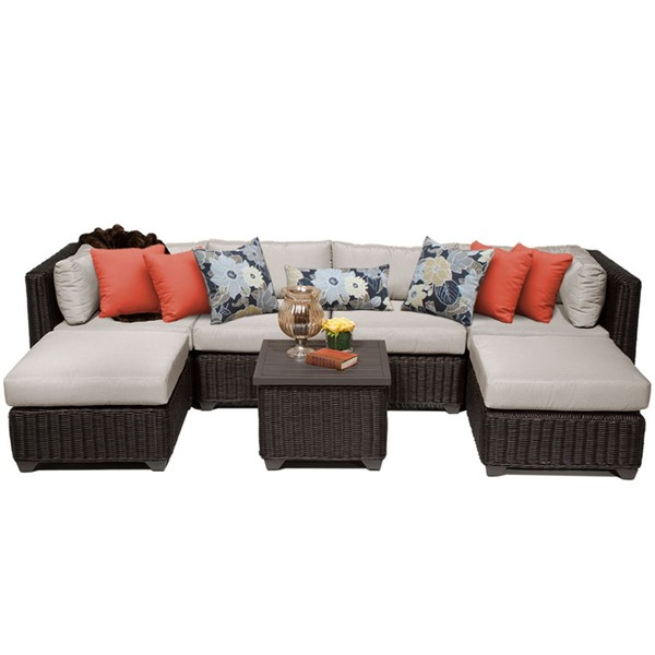 HomeRoots Venice Chestnut Brown Wicker 7pc Outdoor Sectionals (07A) OCN-25828-OUT-SEC-VAR