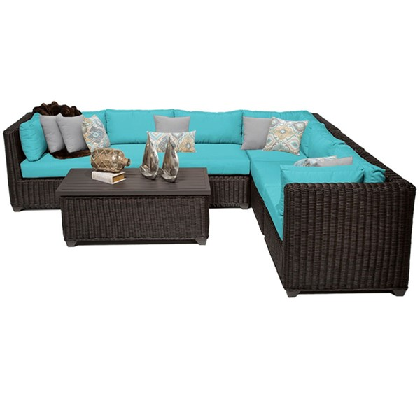 HomeRoots Venice Chestnut Brown Wicker 7pc Outdoor Sectionals (07B) OCN-258286-OUT-SEC-VAR