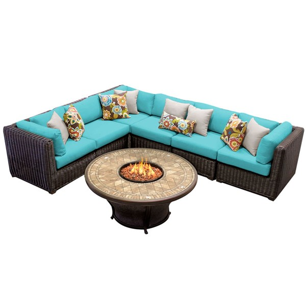 HomeRoots Venice Chestnut Brown Wicker 7pc Outdoor Sectionals (07E) OCN-25830-OUT-SEC-VAR