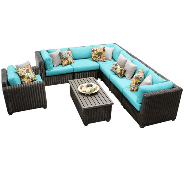HomeRoots Venice Chestnut Brown Wicker 8pc Outdoor Seating Sets (08B) OCN-258321-OUT-SS-VAR