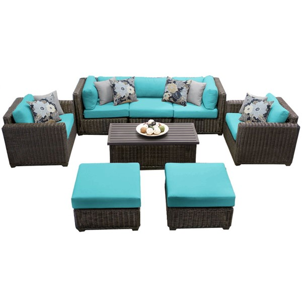 HomeRoots Venice Chestnut Brown Wicker 8pc Outdoor Seating Sets (08C) OCN-25832-OUT-SS-VAR