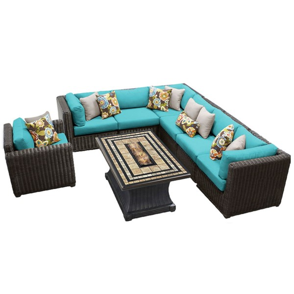 HomeRoots Venice Chestnut Brown Wicker 8pc Outdoor Seating Sets (08E) OCN-25834-OUT-SEC-VAR