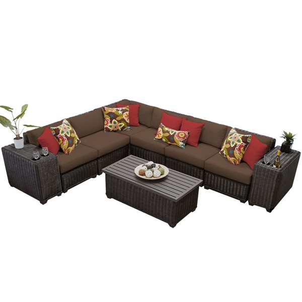 Home Roots Venice Cocoa Chestnut Brown Wicker 9pc Outdoor Sectional (09A) OCN-258352