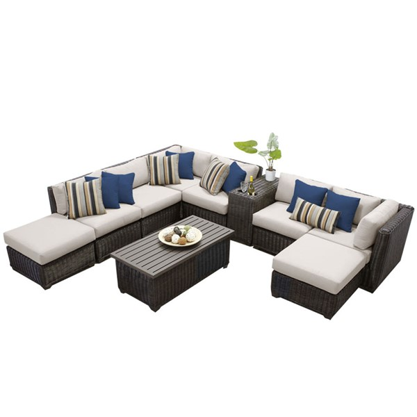 Home Roots Venice Beige Chestnut Brown Wicker 10pc Outdoor Sectional (10A) OCN-258357