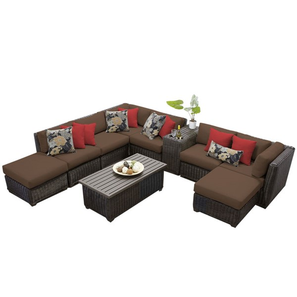 Home Roots Venice Cocoa Chestnut Brown Wicker 10pc Outdoor Sectional (10A) OCN-258359