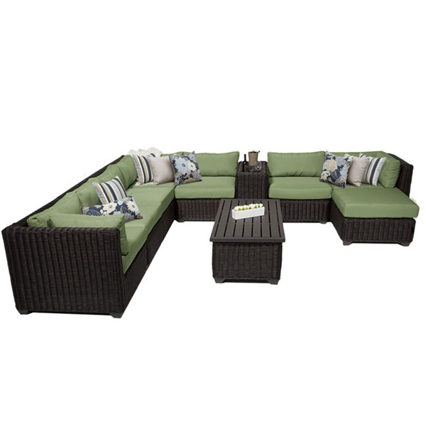 Home Roots Venice Cilantro Chestnut Brown Wicker 10pc Outdoor Sectional (10B) OCN-258365