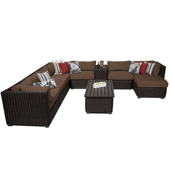 Home Roots Venice Cocoa Chestnut Brown Wicker 10pc Outdoor Sectional (10B) OCN-258366