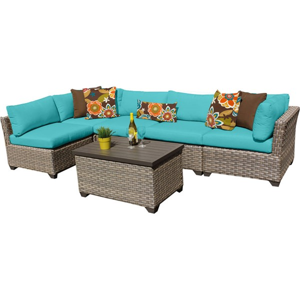 Home Roots Monterey Aruba Outdoor Wicker Patio 6pc Furniture Set (06A) OCN-258405