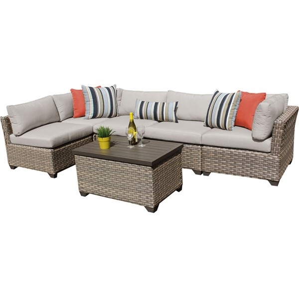 Home Roots Monterey Beige Outdoor Wicker Patio 6pc Furniture Set (06A) OCN-258406