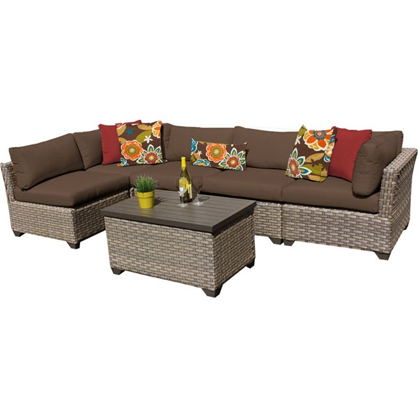 Home Roots Monterey Cocoa Outdoor Wicker Patio 6pc Furniture Set (06A) OCN-258408