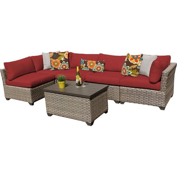 Home Roots Monterey Terracotta Outdoor Wicker Patio 6pc Furniture Set (06A) OCN-258410