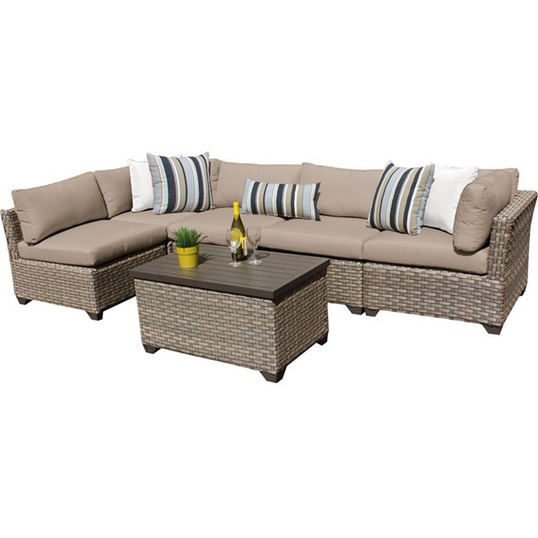 HomeRoots Monterey Wheat Outdoor Wicker Patio 6pc Furniture Set (06A) OCN-258411