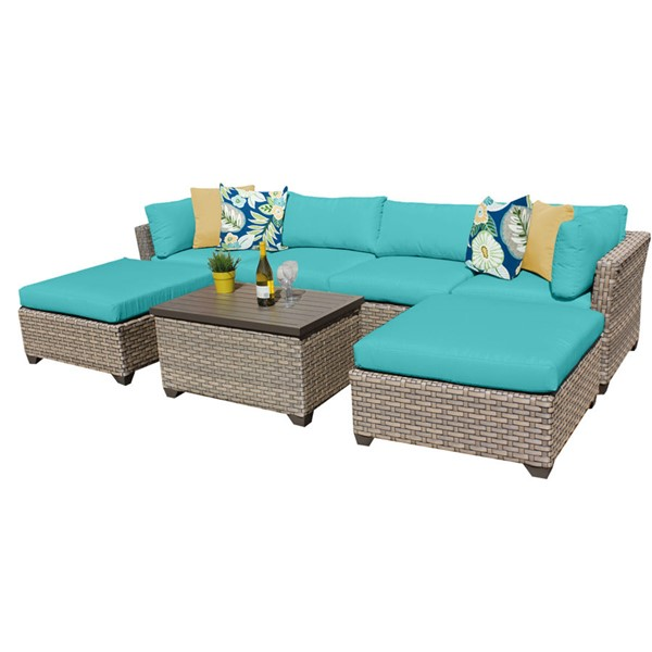 Home Roots Monterey Aruba Outdoor Wicker Patio 7pc Furniture Set (07B) OCN-258419
