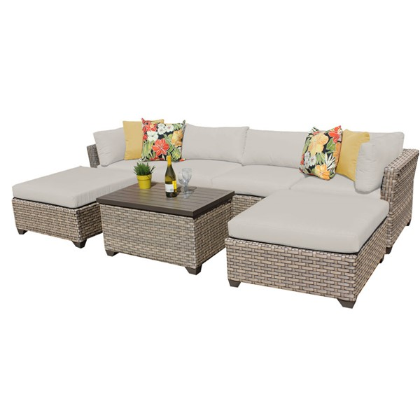 Home Roots Monterey Beige Outdoor Wicker Patio 7pc Furniture Set (07B) OCN-258420