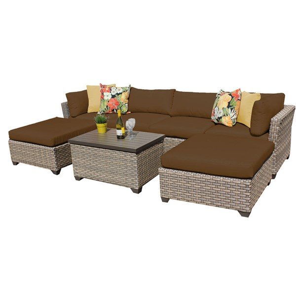 Home Roots Monterey Cocoa Outdoor Wicker Patio 7pc Furniture Set (07B) OCN-258422