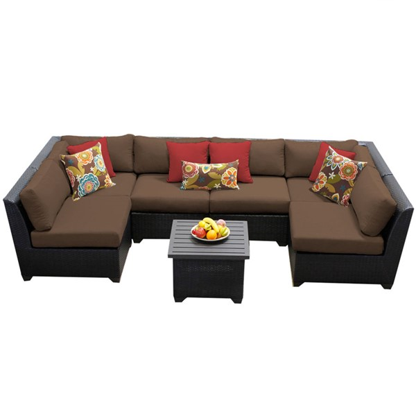 HomeRoots Cocoa Outdoor Wicker Patio 7pc Furniture Set (07C) OCN-258849