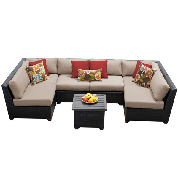Home Roots Wheat Outdoor Wicker Patio 7pc Furniture Set (07C) OCN-258852