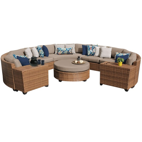 Home Roots Laguna Wheat Caramel Wicker 8pc Outdoor Sectional (08B) OCN-258908