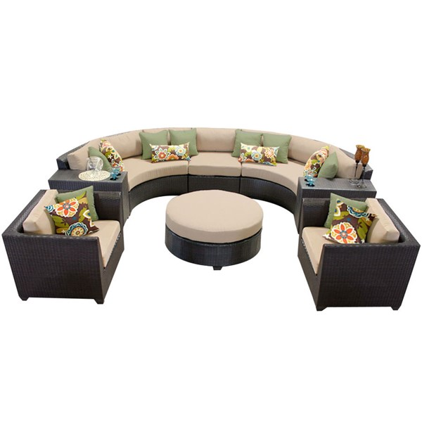 Home Roots Espresso Wicker Wheat 8pc Outdoor Seating Set (08E) OCN-258959