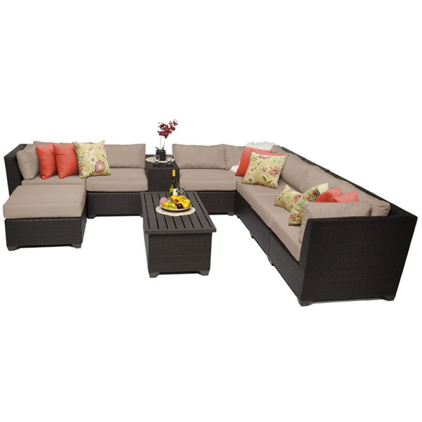 Home Roots Espresso Wicker Wheat 10pc Outdoor Sectional (10B) OCN-258964