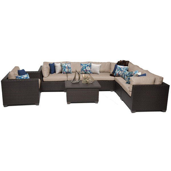 HomeRoots Belle Wheat Outdoor Wicker Polyethylene Patio 8pc Furniture Set (08B) OCN-258987