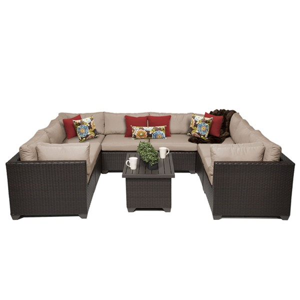 Home Roots Belle Wheat Outdoor Wicker Patio 9pc Furniture Set (09A) OCN-258988