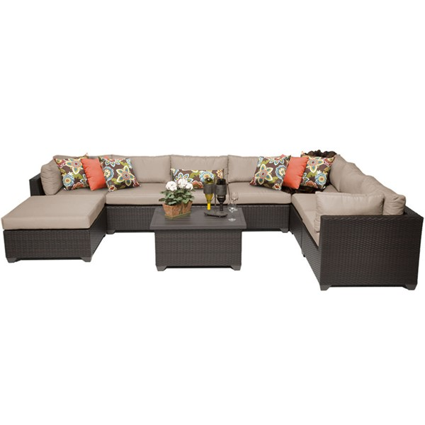 Home Roots Belle Wheat Outdoor Wicker Patio 9pc Furniture Set (09B) OCN-258989