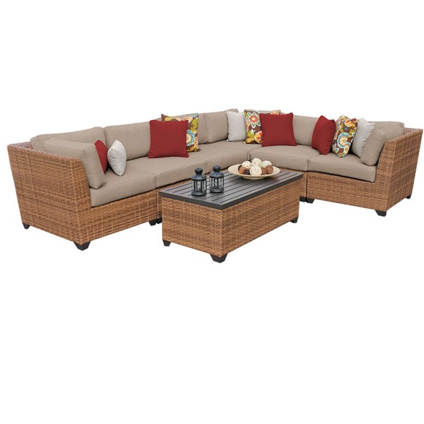 Home Roots Laguna Wheat Outdoor Wicker Modern Patio 7pc Furniture Set (07B) OCN-259020