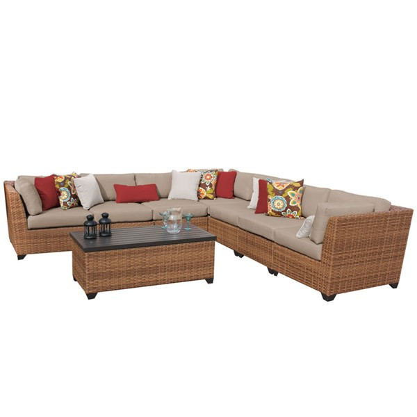 Home Roots Laguna Wheat Outdoor Wicker Patio 8pc Furniture Set (08A) OCN-259023
