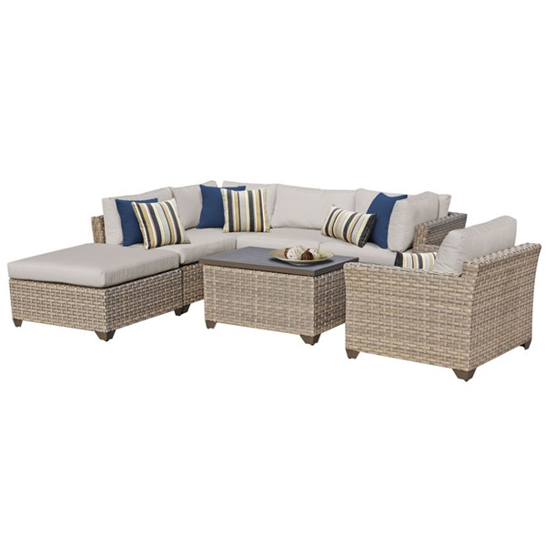 HomeRoots Monterey Beige Outdoor Wicker Patio 7pc Furniture Set (07D) OCN-259071