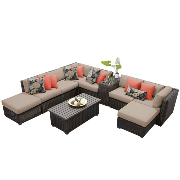 HomeRoots Venice Chestnut Brown Wicker Wheat 10pc Outdoor Sectional (10A) OCN-259096