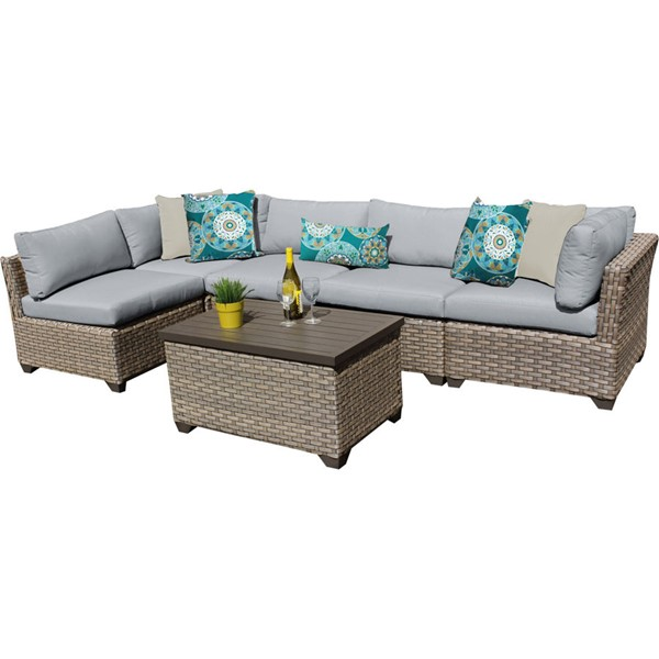 Home Roots Monterey Grey Outdoor Wicker Patio 6pc Furniture Set (06A) OCN-259286