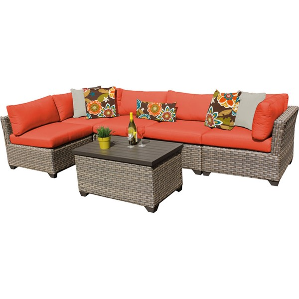 Home Roots Monterey Tangerine Outdoor Wicker Patio 6pc Furniture Set (06A) OCN-259287