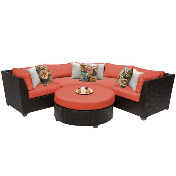 HomeRoots Tangerine Outdoor Wicker Patio 4pc Furniture Set (04A) OCN-259331